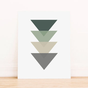 Triangle Green and Gray Geometric Art PRINTABLE Art Dorm Decor Typography Poster Home Decor Office Decor Apartment Poster
