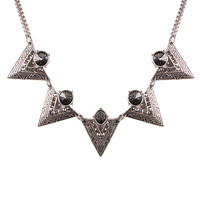 Black Stoned Tribal Necklace - Antique Silver / One