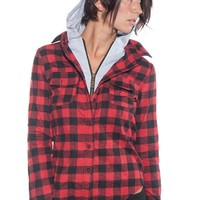Fact Checker Plaid Top with Built in Hoodie - Red