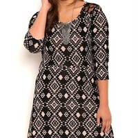 Plus Size Navajo Print High Low Skater Dress with Lace Back