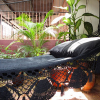 Black Hammock, Hand Woven Natural Cotton with Special Fringe