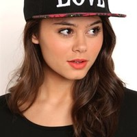 LOVE Baseball Hat with Plaid Brim
