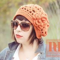 Ladie's Bohemian Lace Hat with Flower Crochet PDF Pattern