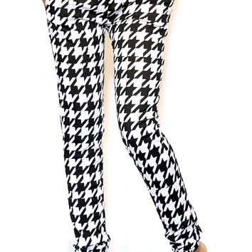 Black and White Houndstooth Jogger Pants