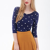 FOREVER 21 Heart Print Top Black/Cream