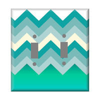 Modern Blues Chevron Double or Single Light Switch Cover Oversized Aqua Blues
