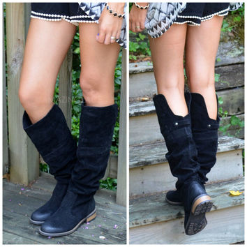 The One The Got Away Black Equestrian Boots
