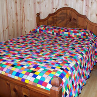 Bedspread Quilt Psychedelic Weave-It Loom Queen King Bed Cover Photography Prop Rainbow Retro Bright Hippie