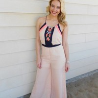 Jumpsuit: light pink nude half sheer ustrendy