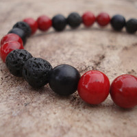 Lava Stone Bracelet with Black Wood and Beet Red Riverstone, For Him