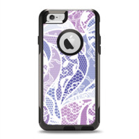 The Purple and White Lace Design Apple iPhone 6 Otterbox Commuter Case Skin Set