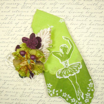 Vintage Ballerina Hankie and Matching Mini Corsage Pin Tiny Dancer Gift Set Chartreuse Lime Velvet Millinery CIJ SALE