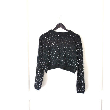 80s cropped ANGORA bobble sweater / vintage 1980s black AVANT GARDE beaded crop top jumper