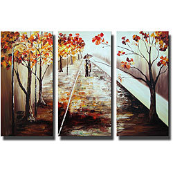 'A Walk in the Rain' Hand-painted Canvas Art Set | Overstock.com