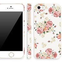 iPhone 5s floral case for girl, Akna Retro Floral Series Vintage Flower Pattern Rubber Coating Back Case for iPhone 5 5S (Vintage White)(U.S)