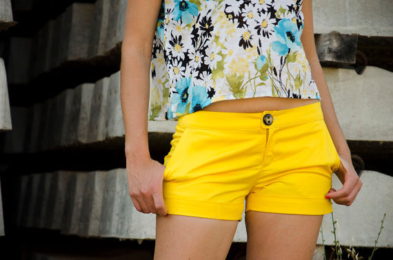Yellow Women Shorts, Handmade, Made to Order, Customize Length