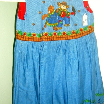 Girls Halloween dress Fall Scarecrow Kitty Cat Hoedown  jumper  Size 4  cotton