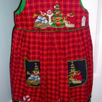 Little girls Christmas dress Merry Mice plaid on Red cotton jumper with pockets Size 4