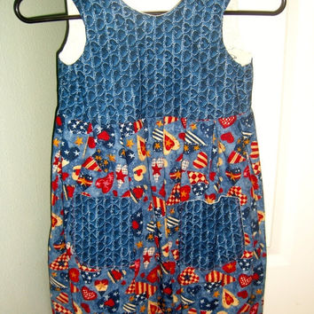 Little girls summer dress Patriotic I love USA hearts cotton jumper sundress with pockets Size 6 apparel clothing outfit