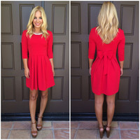 Enchanted Bejeweled Bow Back Dress - RED