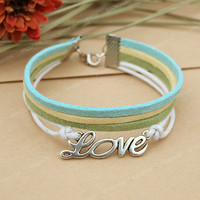 Bracelet-Love charm bracelet with turquoise, green and yellow string, gift for her, lover gift