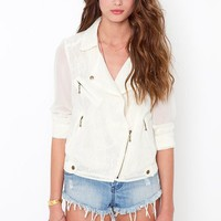Hidden Lace Jacket - Cream