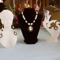 Pearl Cameo Choker Necklace Matching Jewelry Set OOAK