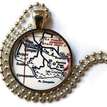 Lompoc, Buellton map necklace pendant, California map jewelry by Location Inspirations