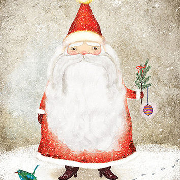 Santa Claus Illustration Christmas Print Winter Snow Snowflake Red Beige White Ornament Beard Mustache Birdie
