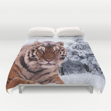 Siberian Tiger and Snow Duvet Cover by Erika Kaisersot