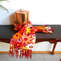 Wide floral fleece scarf, red, orange and yellow, with red fringe
