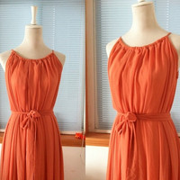 Vintage Chiffon Dress Maxi Long Bridesmaid Dress Orange Color Plus size Dress with Sash Belt Keyhole Party Evening Dress Reception Dress