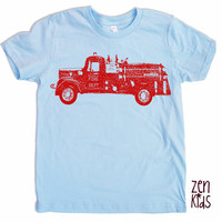 Kids T Shirts - Light Blue VINTAGE FIRE TRUCK Tee - Kid Shirt Sizes 2 4 6 8 10 & 12