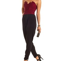 Pointed Sweetheart Color Block Strapless Jumpsuit - Black Combo