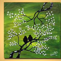 "CUSTOM Landscape Modern ORIGINAL Art Tree 20"" Contemporary Fine Art Green White Painting by Orit"