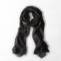 AEO Shimmery Printed Scarf, True Black | American Eagle Outfitters