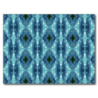Trendy vertical blue pattern post cards