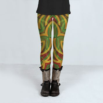 Tropical Colors Abstract Geometric Print Leggings by Daniel Ferreira-Leites (Leggings)