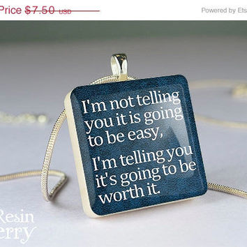 ON SALE: art scrabble tile pendant,phrase resin pendants,quotes photo charm,recycled glass pendant- P1093SP