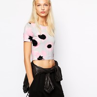 Monki Faded Floral T-Shirt