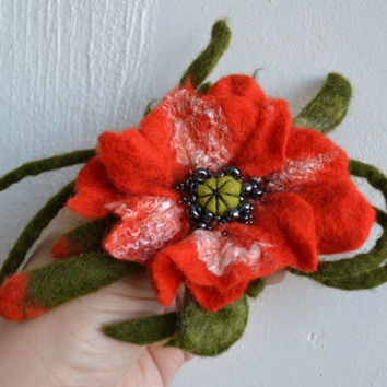 Felted Poppy Red Wool with Green Stems and Buds, Red Flower Pin, Corsage Brooch, Handmade Whimsical Accessory