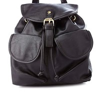 DOUBLE POCKET FAUX LEATHER MINI BUCKET BACKPACK