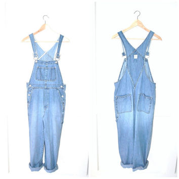 light wash denim overalls / vintage 90s GRUNGE pale jean dungarees / GAP denim romper