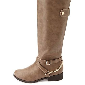 Belted Chain Harness Knee-High Riding Boots - Taupe