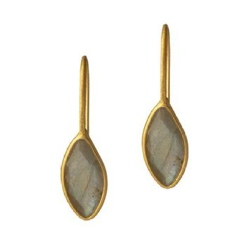 Gold Plated Earrings with Labradorite