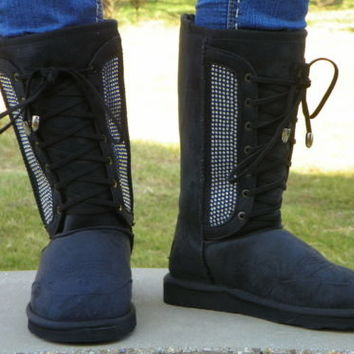 NWT Montana West Women's Black Combat Bling Boots with Fur for Winter Size 8