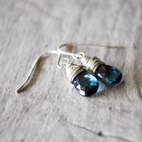 London Blue Topaz Earrings Sterling Silver Gemstones Wire Wrapped Navy Deep Dark