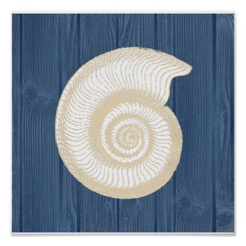 Sea Shell Vintage Blue Wood Beach Poster