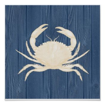 Crab Vintage Blue Wood Beach Poster