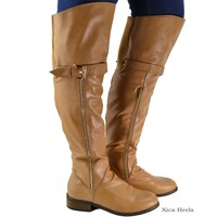 Women's Over The Knee Boots Buckle Faux Leather Flat Boot Beige or Black New